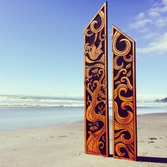 1 New Zealand Story Flute Pair - Koru and Pohutukawa  $599