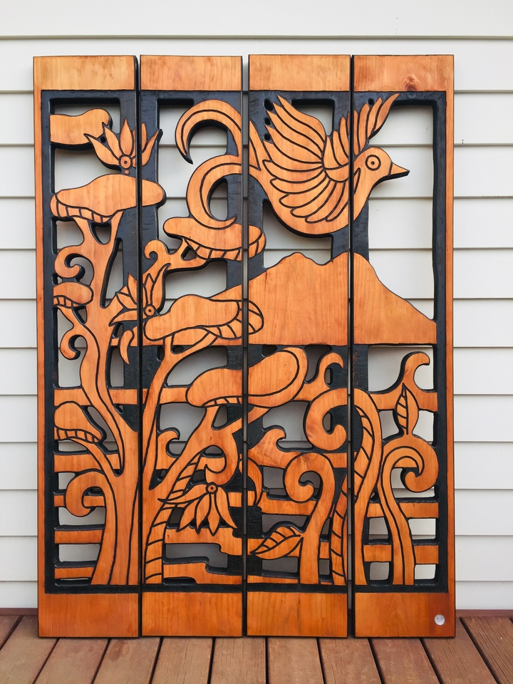4 Panels Pohutukawa and Koru $869